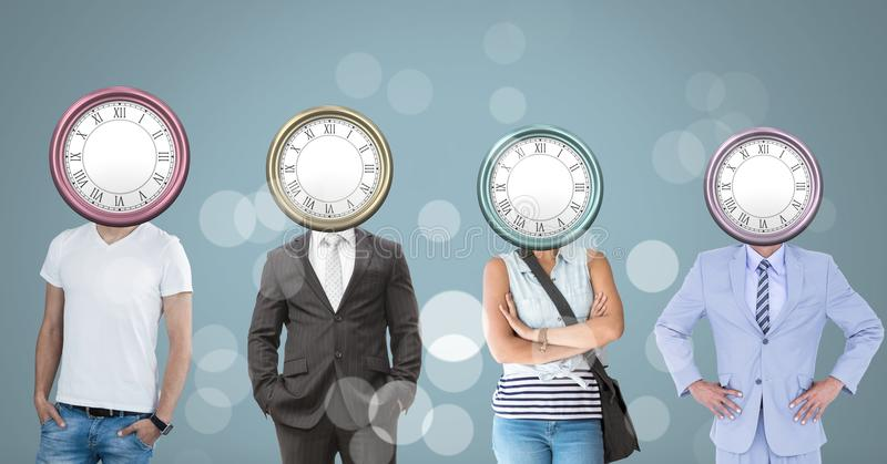 Ludzie z surrealistycznymi zegarowego czasu głowami ilustracji