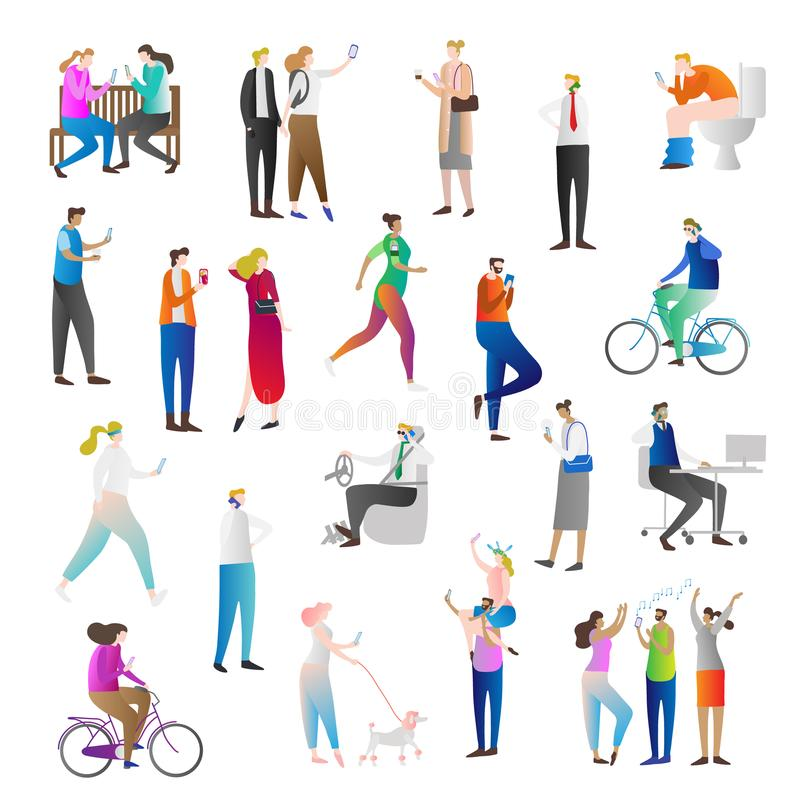 Ludzie z telefon komórkowy ikony kolekci wektorowym ilustracyjnym setem Istota ludzka trzyma mądrze telefon opowiadać, gawędzić,  ilustracja wektor