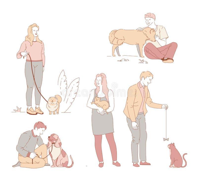 Ludzie z zwierzętami domowymi w parkowych właścicieli pies i kot odizolowywali charaktery royalty ilustracja