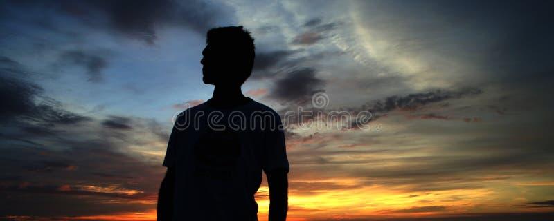 ludzie zachodu słońca fotografia stock