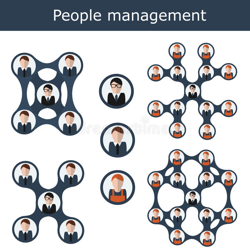 Ludzie zarządzania pojęcia wektoru ilustraci Biurowa hierarchia, działy zasobów ludzkich, biznes drużyna ilustracja wektor