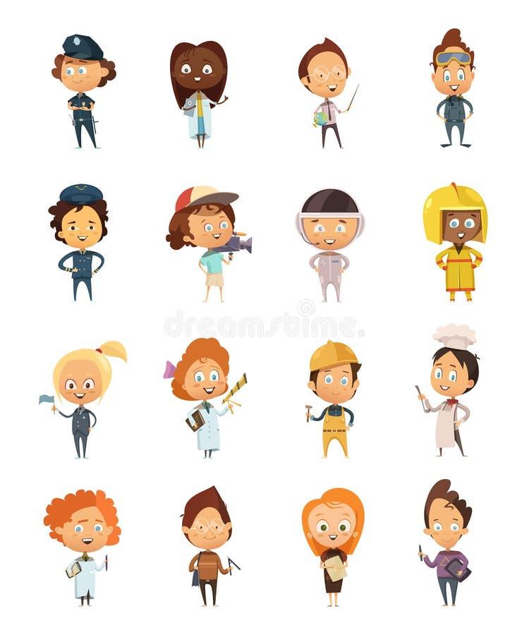 Ludzie zawód kreskówki Ślicznych ikon royalty ilustracja
