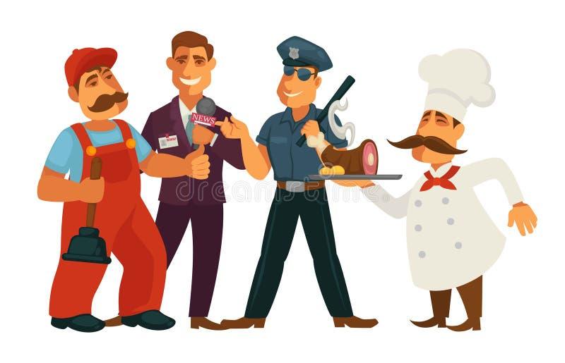 Ludzie zawodów hydraulicy, dziennikarza i policjanta szefa kuchni wektorowy mieszkanie, odizolowywali set ilustracja wektor