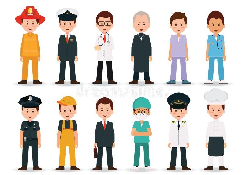 Ludzie zawodów i zajęcie ikony set royalty ilustracja