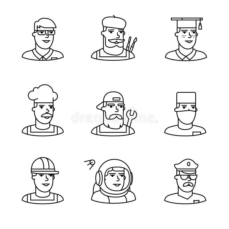 Ludzie zawodów temp ikon cienieją kreskowej sztuki set royalty ilustracja