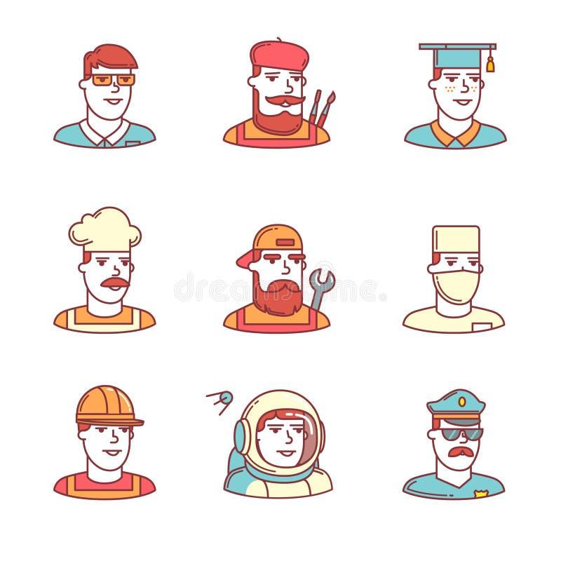 Ludzie zawodów temp ikon cienieją linia set ilustracja wektor