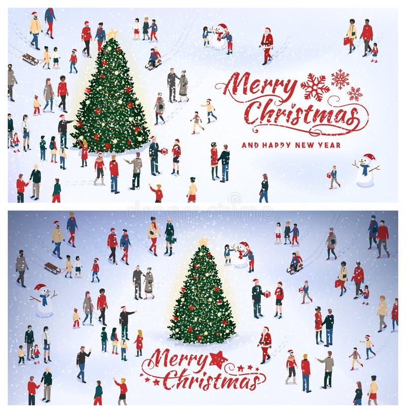 Ludzie zbiera wokoło Cristmas drzewa ilustracja wektor