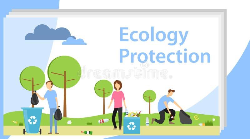 Ludzie zbierają śmieci w parku w naturze Ludzie wspólnie zbiera śmieci Wolontariuszi zbierają śmieci wewnątrz ilustracja wektor