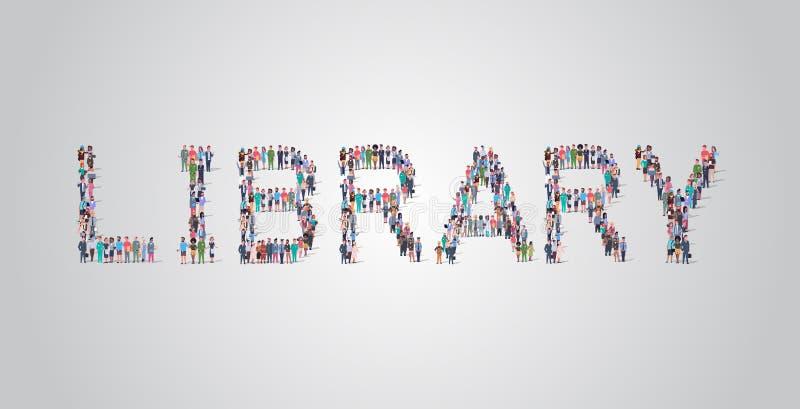 Ludzie zbierają się w formie biblioteki, słowo 'pracownicy' mieszają się ze sobą w grupę pracowników royalty ilustracja