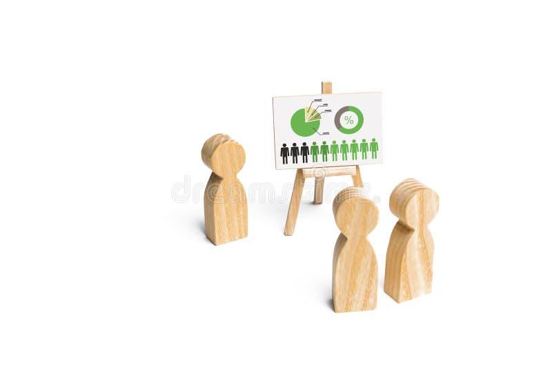 Ludzie zbierali dla spojrzenia przy mową lider i spotkania Spotykać lub raport dla za okresem Analityka i strategia fotografia stock