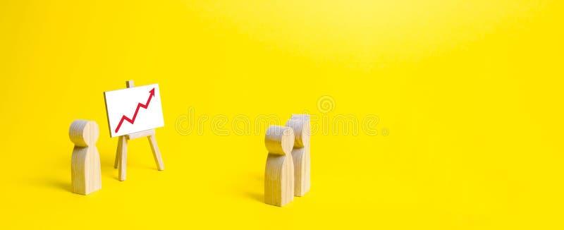 Ludzie zbierali dla spojrzenia przy mową lider na żółtym tle i spotkania Zysku i dochodu analiza, informuje obrazy stock