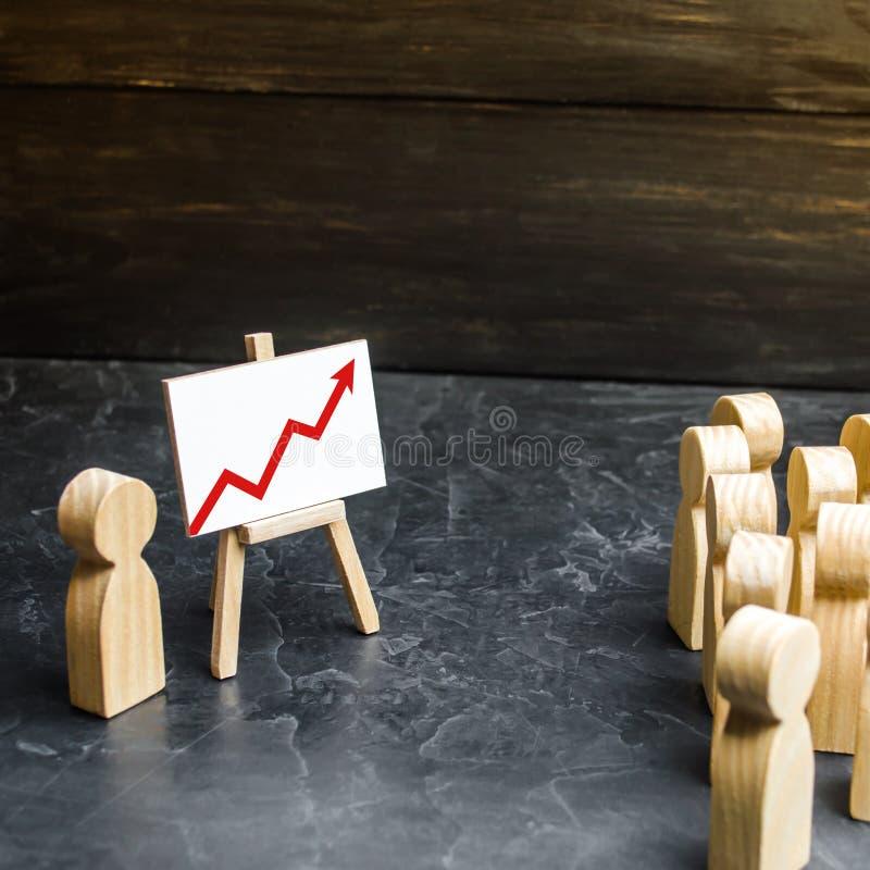 Ludzie zbierali dla spojrzenia przy mow? lider i spotkania Zysku i dochodu analiza webinar, zdjęcia stock