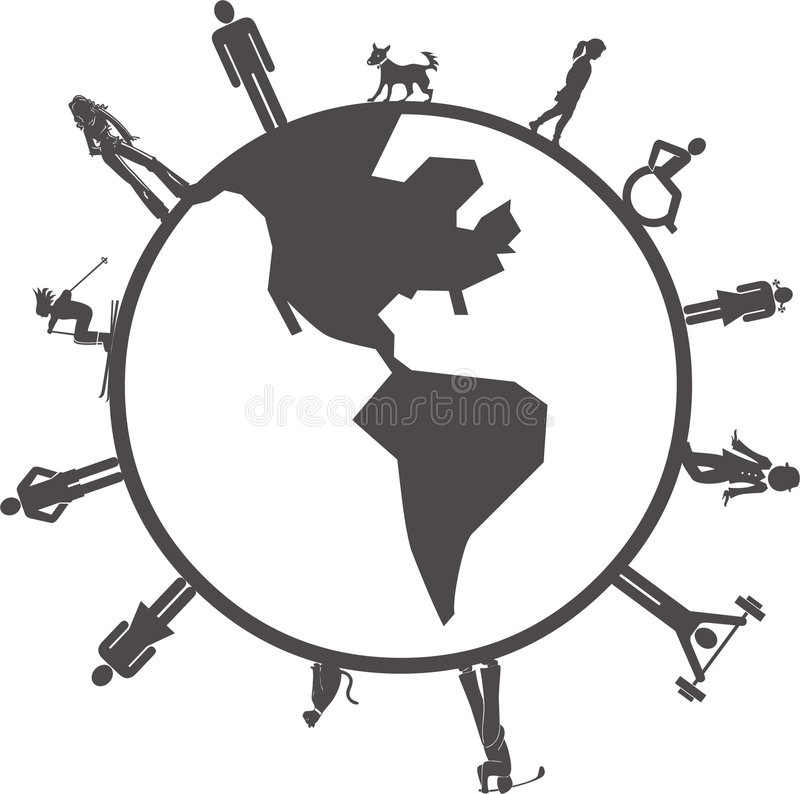 ludzie ziemskich kul ilustracja wektor