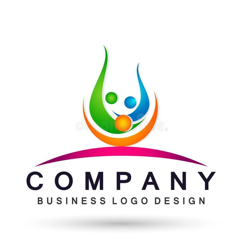 Ludzie zjednoczenie drużyny odświętności szczęścia wellness symbolu ikony elementu logo projekta na białym tle ilustracja wektor