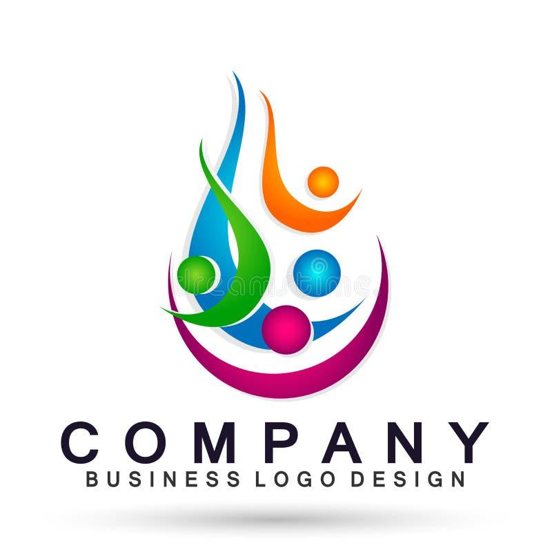 Ludzie zjednoczenie drużyny odświętności szczęścia wellness symbolu ikony elementu logo projekta na białym tle royalty ilustracja