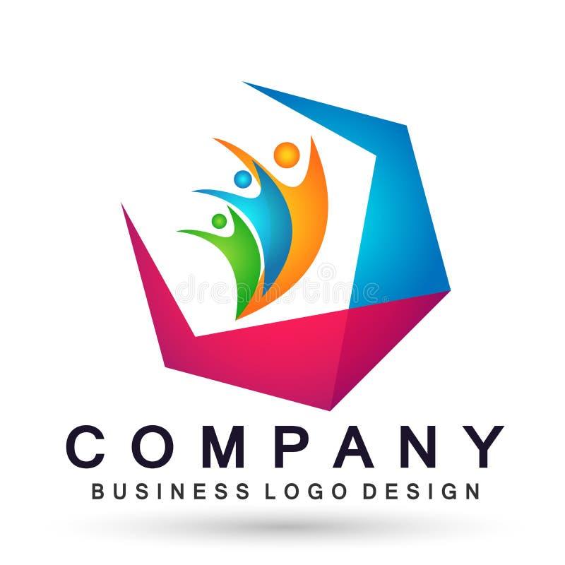 Ludzie zjednoczenie drużyny pracy odświętności happyness wellness świętowania loga symbolu ikony elementu loga zdrowego projekta  ilustracji
