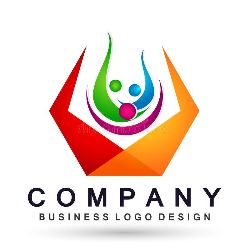 Ludzie zjednoczenie drużyny pracy odświętności happyness wellness świętowania loga symbolu ikony elementu loga zdrowego projekta  ilustracja wektor
