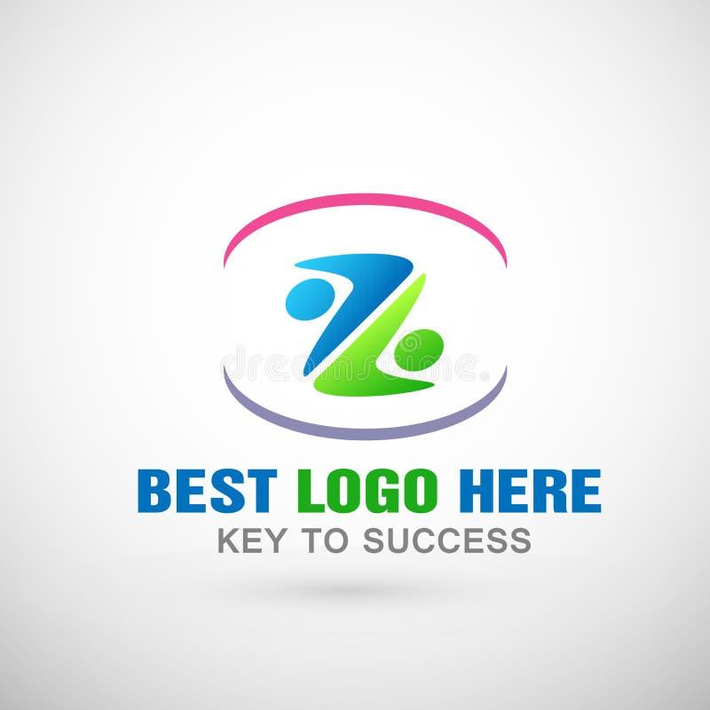 Ludzie zjednoczenie drużyny pracy loga ikony wpólnie kształtowali listowego Z symbol dla biznesowego sukcesu firmy ilustracja wektor