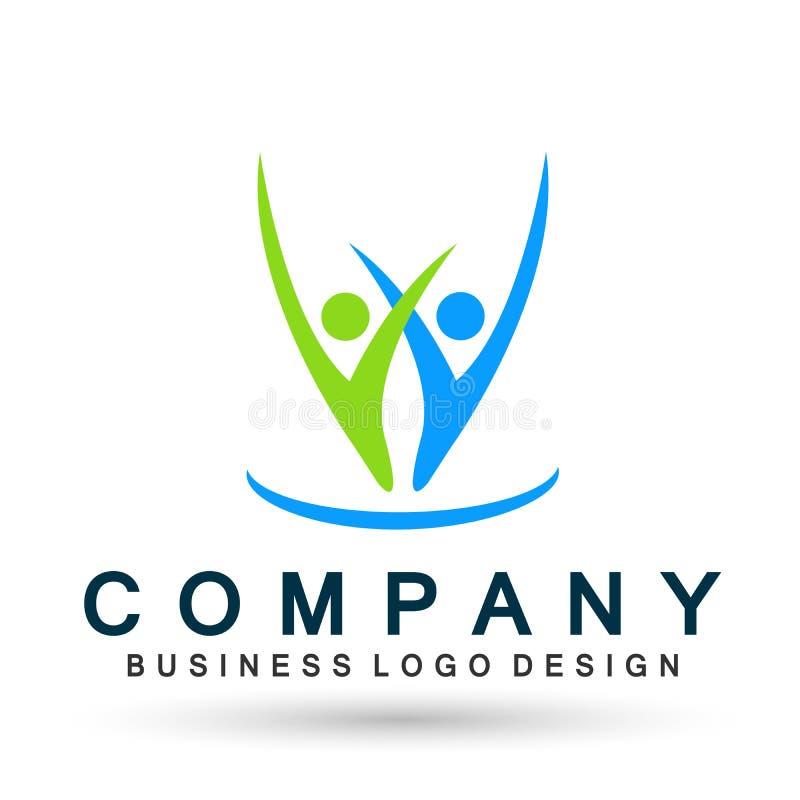 Ludzie zjednoczenie drużyny pracy społeczności wellness wpólnie logo ogólnospołecznej ikony na białym tle royalty ilustracja