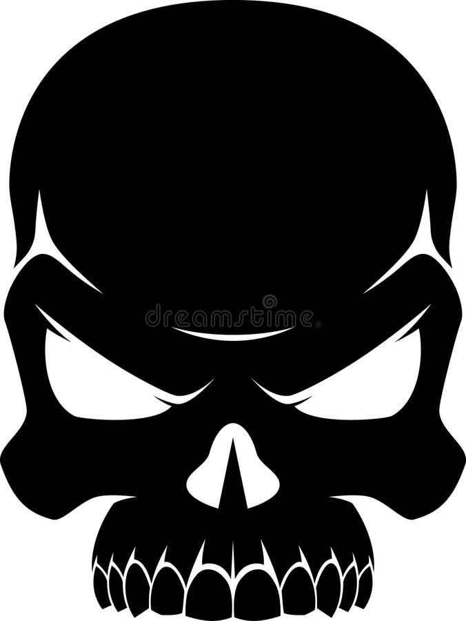 Ludzka czaszka czarny i biały ilustracja wektor