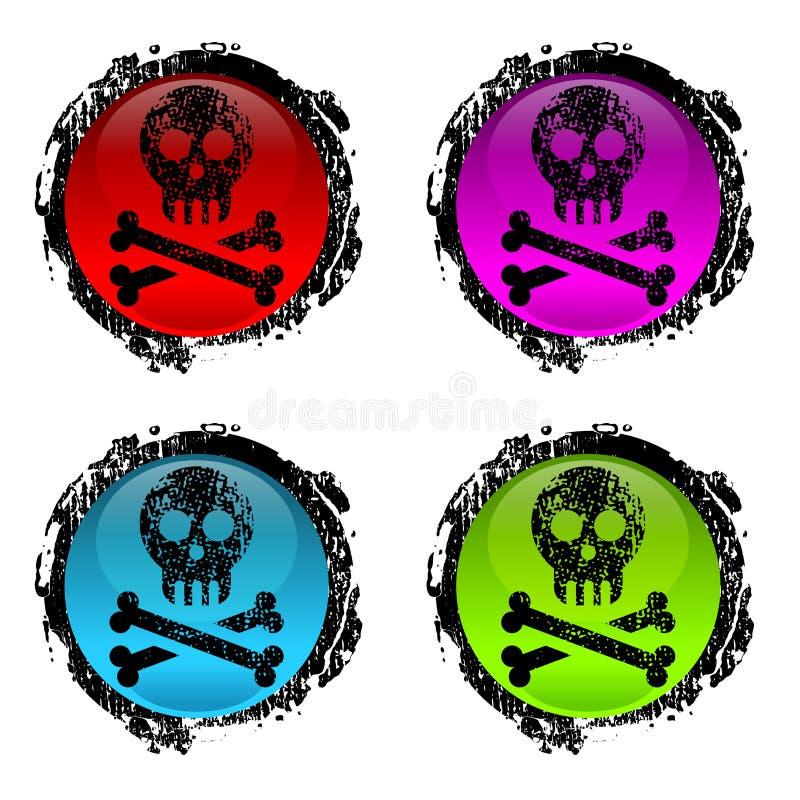 Ludzka czaszka Grunge znaki royalty ilustracja