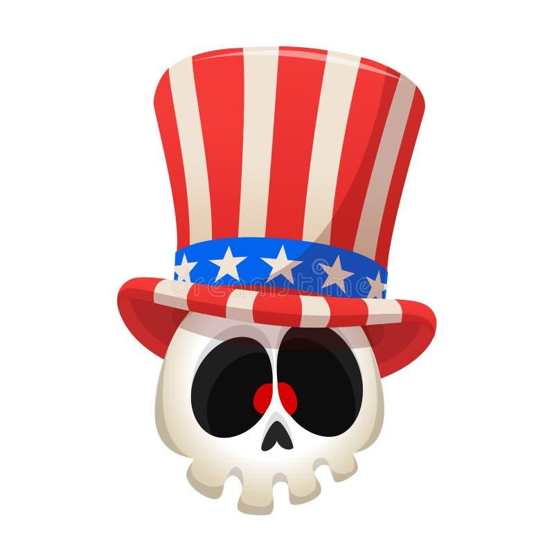 Ludzka czaszka jest ubranym wujek sam kapelusz na białym tle Kreskówki ilustracyjna maskotka dla Amerykańskiego dnia niepodległoś royalty ilustracja