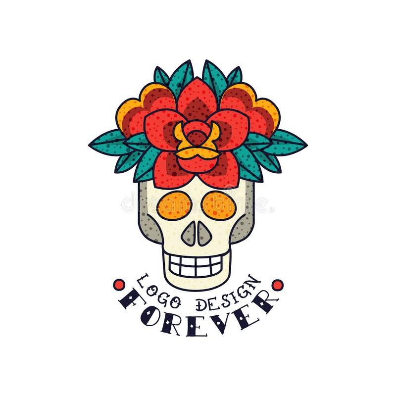 Ludzka czaszka, kwiaty i słowo, Na zawsze, klasycznego Amerykańskiego stara szkoła tatuażu loga projekta wektorowa ilustracja na  royalty ilustracja