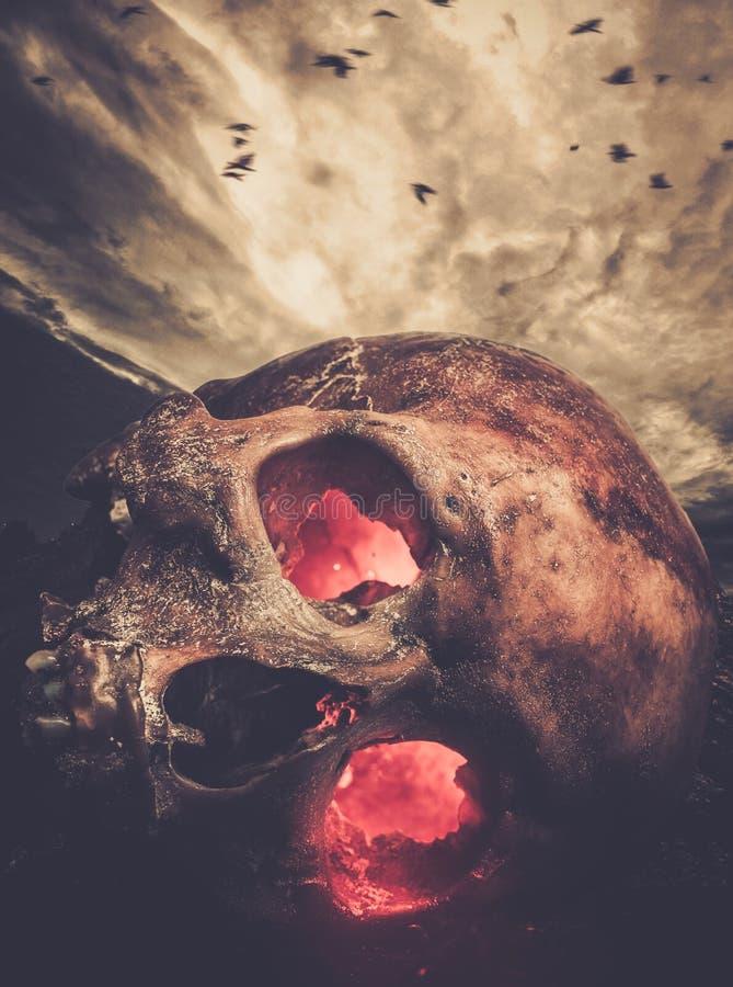 Ludzka czaszka z jarzyć się oczy fotografia royalty free
