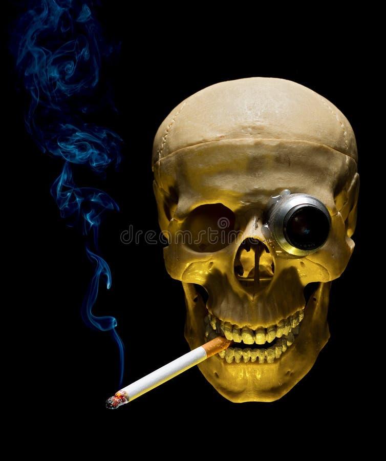 Ludzka czaszka z monocle dymienia papierosem zdjęcie royalty free