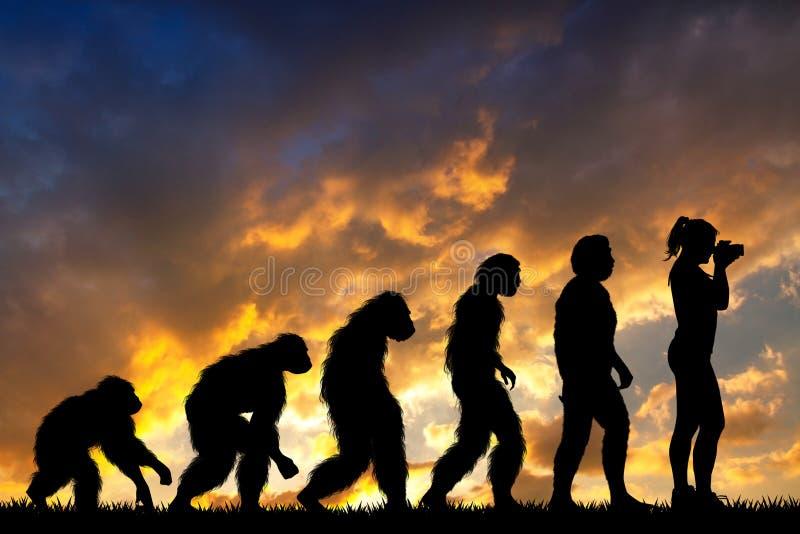 Ludzka ewolucja z fotograf dziewczyną royalty ilustracja