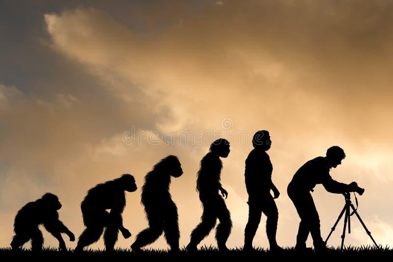 Ludzka ewolucja z fotografa mężczyzną ilustracji