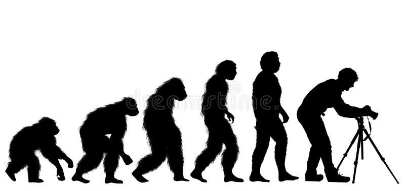 Ludzka ewolucja z fotografa mężczyzną z tripod ilustracja wektor