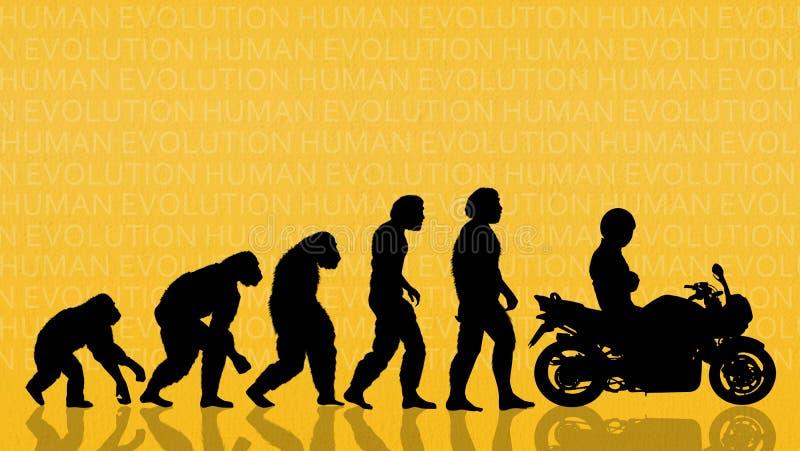 Ludzka ewolucja z motocyklem ilustracji