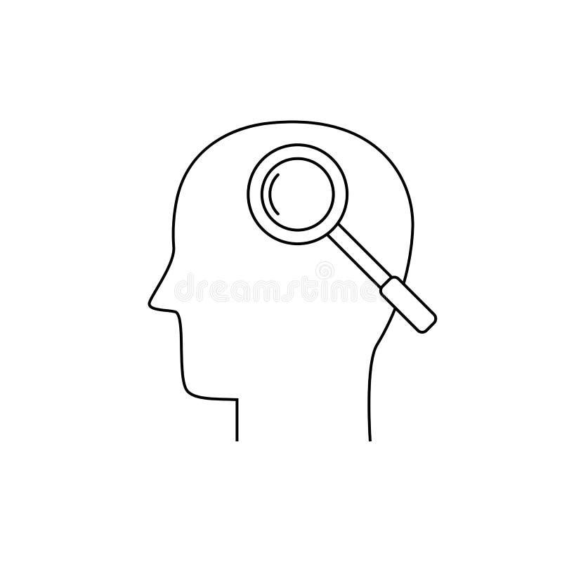Ludzka głowa i powiększać - szkło, cienieje kreskową ikonę ilustracja wektor