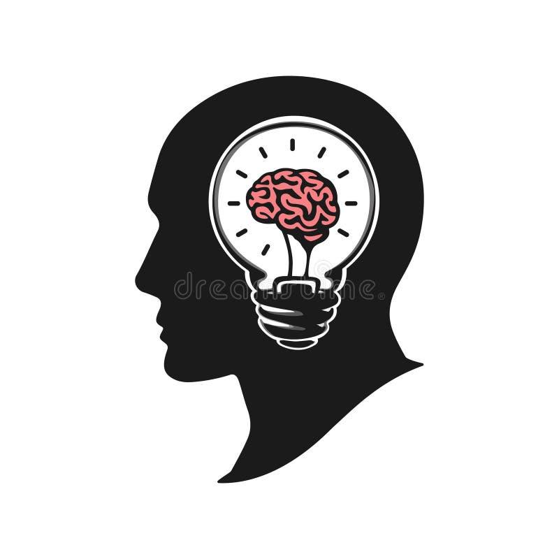 Ludzka głowa tworzy nową pomysłu wektoru ilustrację kierownicza mózg istota ludzka Sylwetki ludzka głowa z żarówką ilustracji