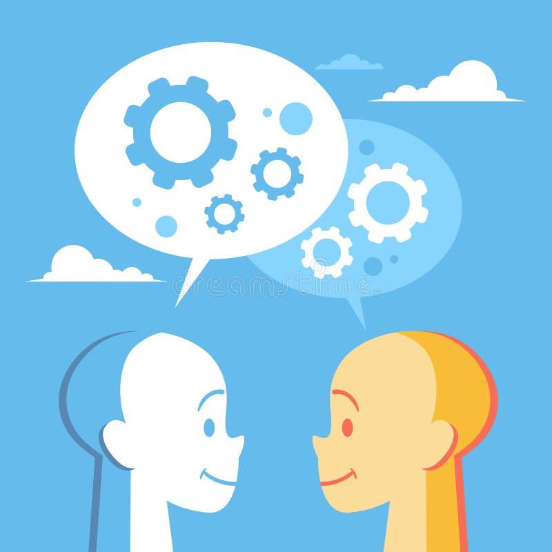 Ludzka głowa Z Cogwheel Brainstorming Biznesowym procesem ilustracja wektor
