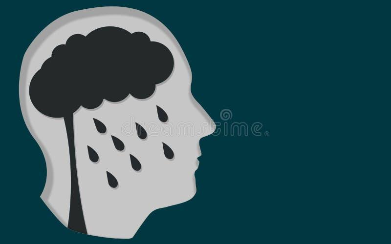 Ludzka głowa z depresji umysłową chorobą ilustracji