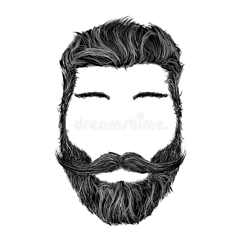 Ludzka głowa z fryzurą, wąsy i brodą odizolowywającymi na wh, ilustracja wektor