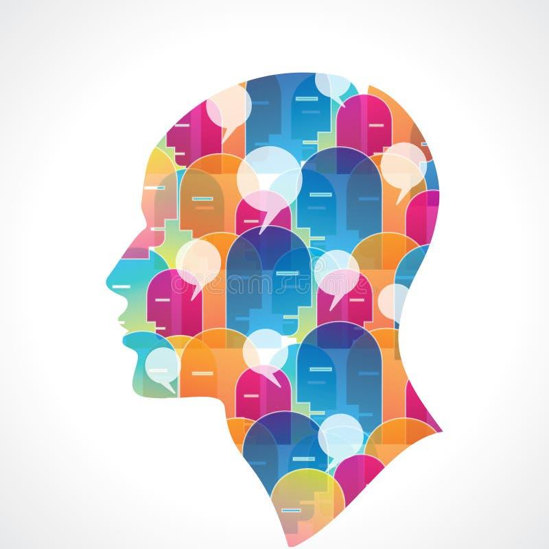 Ludzka głowa z mowa bąblem royalty ilustracja