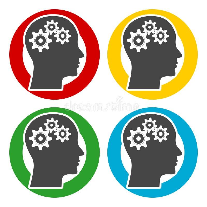 Ludzka głowa z przekładni ikonami ustawiać royalty ilustracja