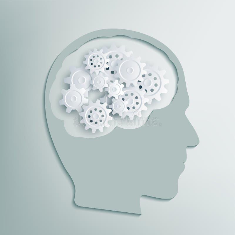 Ludzka głowa z przekładniami inside royalty ilustracja