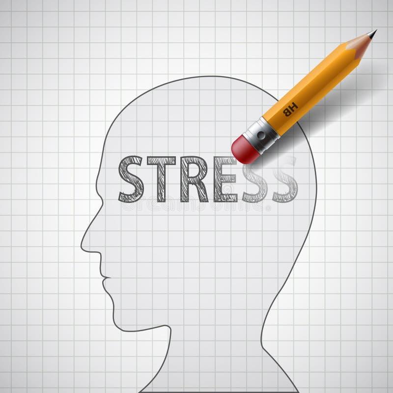 Ludzka głowa z słowo stresem Psychoterapeuta i antidepress ilustracji
