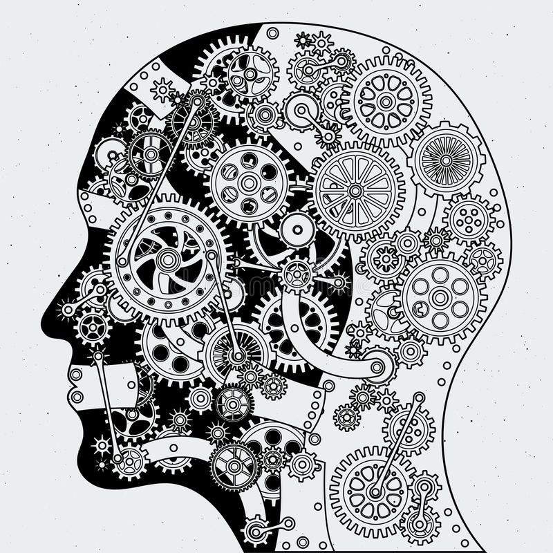 Ludzka głowa z zegarowym mechanizmem i różnymi cogwheels Wektorowa ręka rysować ilustracje w steampunk stylu ilustracji