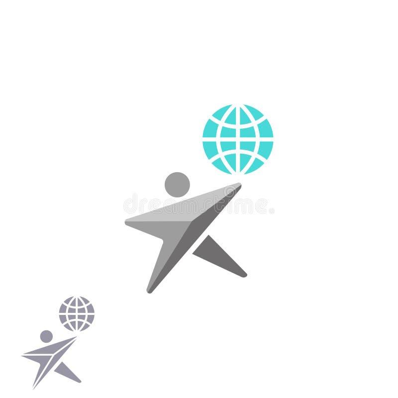 Ludzka kształt gwiazdy logo kula ziemska, kreatywnie ekologii ziemi emblemat, graficzny internet sieci wyszukiwarki technologii s ilustracja wektor