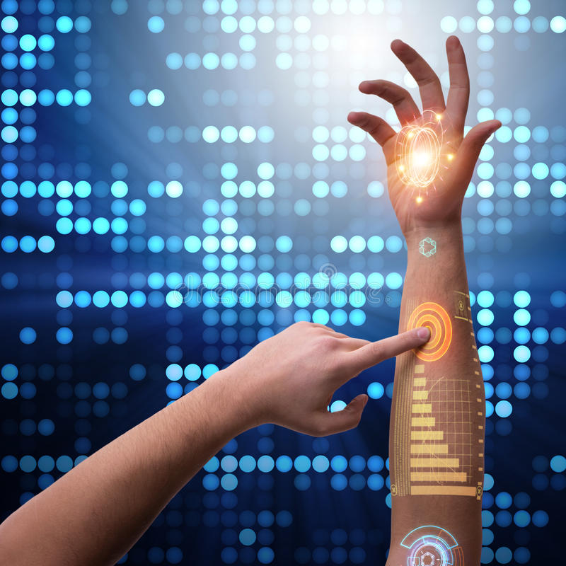 Ludzka mechaniczna ręka w futurystycznym pojęciu ilustracji