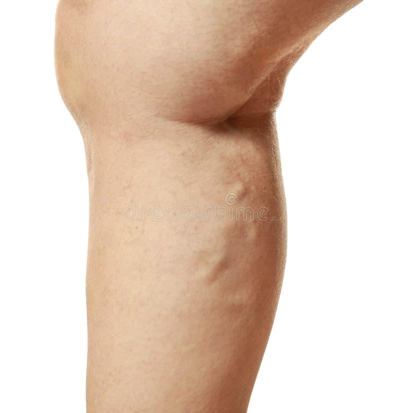 Ludzka noga na białym tle, zbliżenie obrazy royalty free