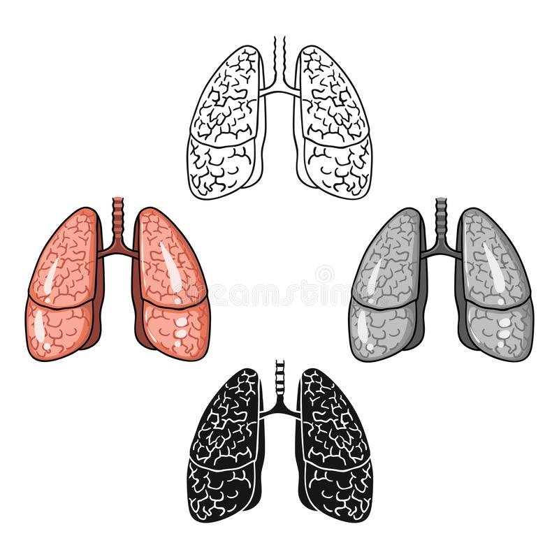 Ludzka płuco ikona w kreskówce, czerń styl odizolowywający na białym tle Ludzkich organ?w symbolu zapasu wektoru ilustracja ilustracji
