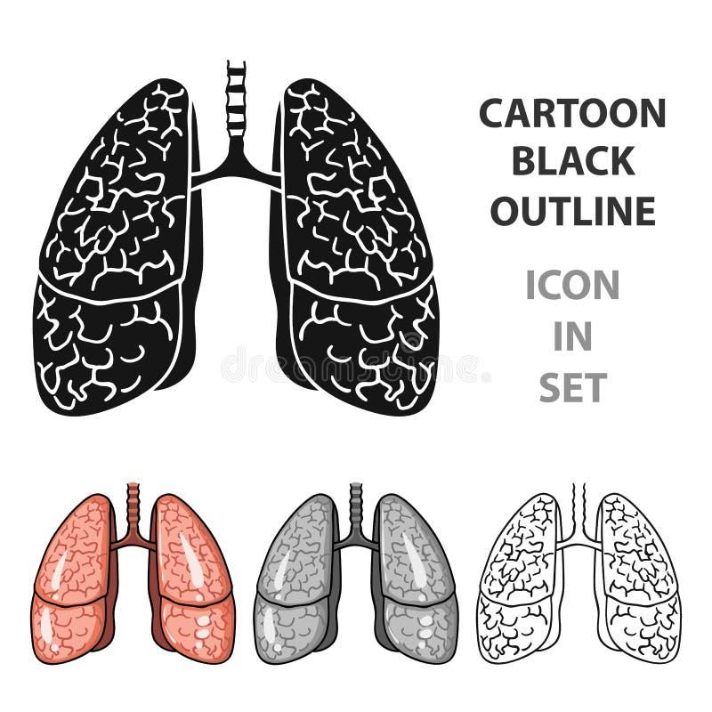 Ludzka płuco ikona w kreskówka stylu odizolowywającym na białym tle Ludzkich organów symbolu zapasu wektoru ilustracja royalty ilustracja