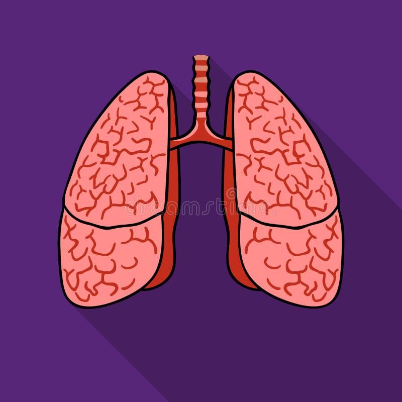 Ludzka płuco ikona w mieszkanie stylu odizolowywającym na białym tle Ludzkich organów symbolu zapasu wektoru ilustracja ilustracja wektor