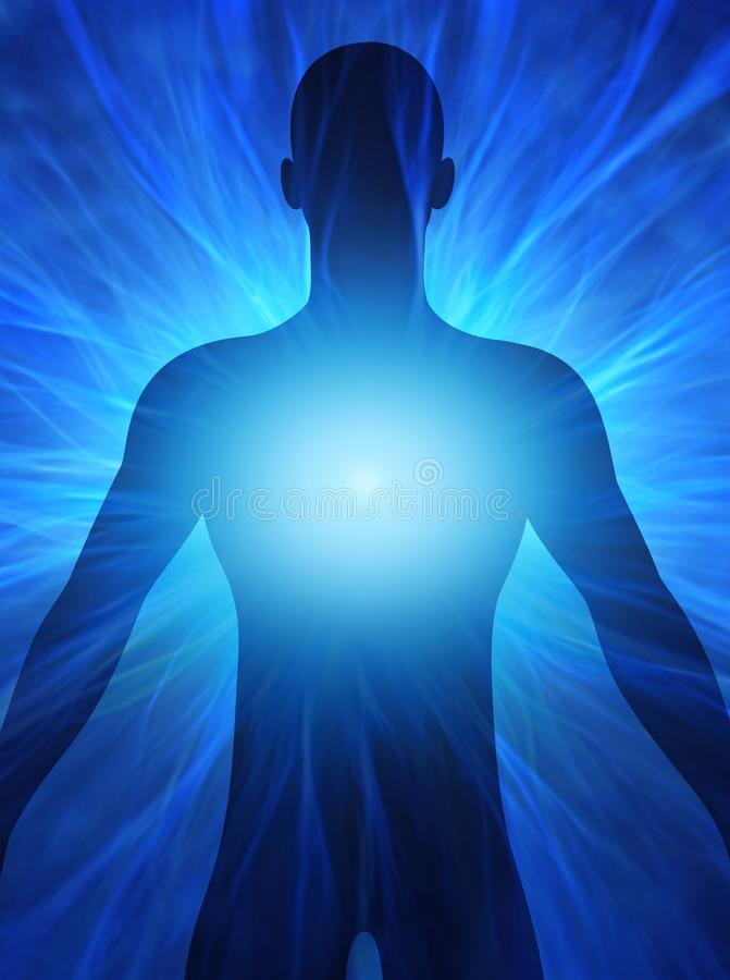 Ludzka postać z energetycznymi promieniami wokoło jego ciała ilustracji
